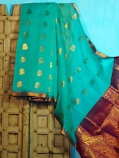 Light Blue And Purple Benarasi Cotton Saree - BANARASI STYLE