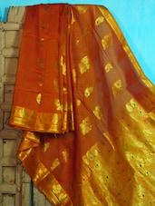 Orange And Gold Benarasi Cotton Saree - BANARASI STYLE