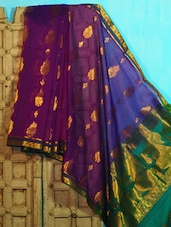 Purple And Green Benarasi Art Silk Saree - BANARASI STYLE