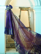 Blue And Gold Art Silk Benarasi Saree - BANARASI STYLE