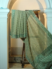 Green And Dusty Gold Cotton Net Benarasi Saree - BANARASI STYLE