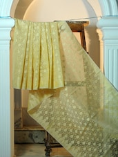 Cream And Dusty Gold Cotton Net Benarasi Saree - BANARASI STYLE