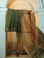 Green And Maroon Benarasi Cotton Net Saree - BANARASI STYLE