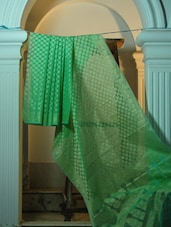 Green Cotton Net Benarasi Saree - BANARASI STYLE