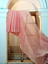 Onion Pink And Dusty Gold Cotton Net Benarasi Saree - BANARASI STYLE