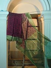 Pink And Green Pure Net Benarasi Saree - BANARASI STYLE