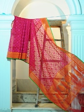 Bright Pink Pure Net Benarasi Saree With Orange Border - BANARASI STYLE