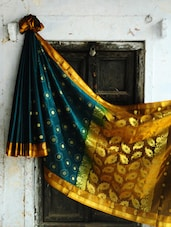 Teal And Gold Benarasi Art Silk Saree - BANARASI STYLE