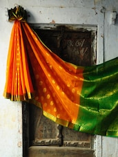 Orange And Green Benarasi Saree - BANARASI STYLE