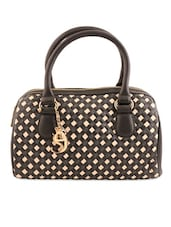 Black And Ivory Handbag With Box-Weave Effect - Eske
