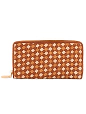 Brown And Ivory Clutch With Box-Weave Effect - Eske