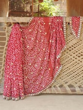 Red Bandhej Georgette Saree - Desiblush