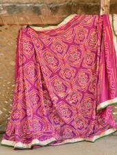 Pink Bandhej Georgette Saree With Gold Border - Desiblush