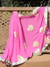 Pink Paisley Detailed Georgette Saree - Desiblush