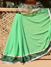 Light Green Saree With Black Lacy Border - Desiblush
