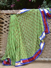 Green And Maroon Printed Saree - Desiblush