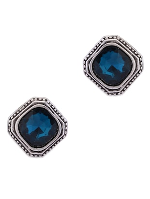 Antique silver finished blue studs