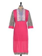 Bright Pink Kurta With Chevron Print Sleeves - Inara Robes