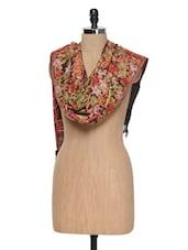Wine Kashmiri Embroidery Stole - Inara Robes