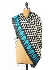 Black And Cream Check Print Dupatta With Blue Buddha Print Border - Dupatta Bazaar