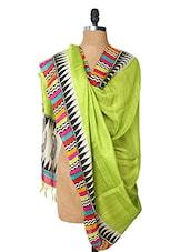 Green Dupatta With A Multi-coloured Border - Dupatta Bazaar
