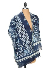 Navy Blue And White Printed Dupatta - Dupatta Bazaar