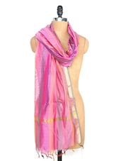 Pink And Purple Striped Dupatta - Dupatta Bazaar