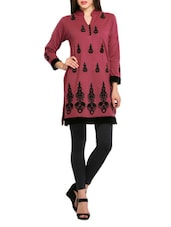Pink And Black Embroidered Woollen Kurti - REBECCA