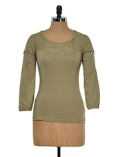 Lace Yoke Olive Green Top - Golden Couture