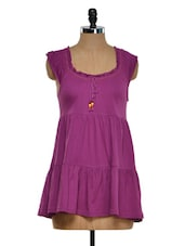 Solid Purple Sleeveless Top - Golden Couture