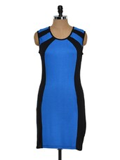 Blue And Black Sleeveless Dress - Golden Couture