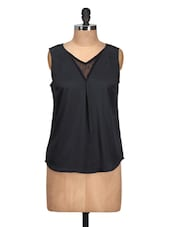Plain Black Top With Lace - Meira