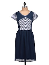 Navy Blue And White Sporty Dress - QUEST