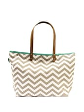 White And Grey Chevron Print Tote Bag - ANGES BAGS
