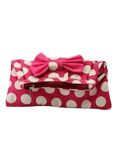 Pink And White Bag With Bow - By