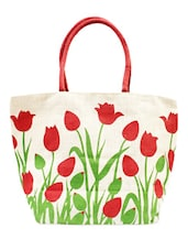 White And Red Printed Bag - ANGES BAGS