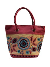 Beige And Pink Jute Bag - ANGES BAGS