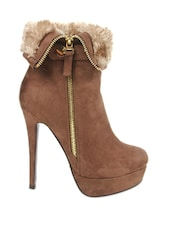 Brown Side Zipper Heeled Ankle Length Boots - Kiss Kriss
