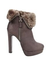 Grey Side Zipper Heeled Ankle Length Boots - Kiss Kriss