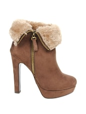 Brown Ankle-length Heeled Boots With Fur Detailing - Kiss Kriss