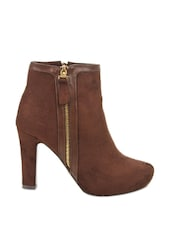 Brown Ankle-length Side Zipper Boots - Kiss Kriss
