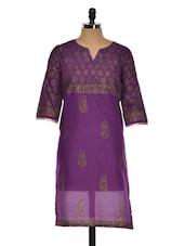 Long Block Printed Purple And Gold Kurta - Sohniye