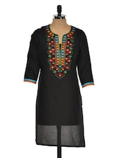 Solid Black Kurta With Multi-coloured Embroidery - Sohniye