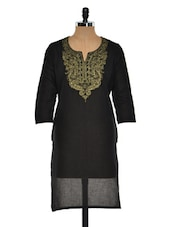 Solid Black Kurti With Gold Paisley Embroidery - Sohniye