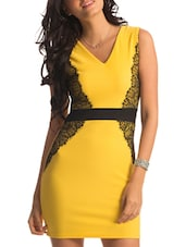 Yellow Black Lace Applique Dress - PrettySecrets
