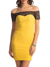 Yellow Black Lace Dress - PrettySecrets