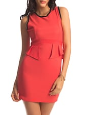 Red Criss Cross Back Peplum Dress - PrettySecrets