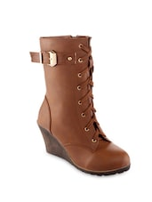 Brown Lace-up Wedge Boots - KIELZ