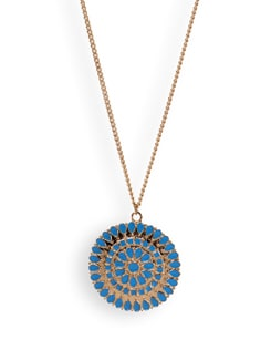 Long Necklace With Blue Pendant - Tribal Zone