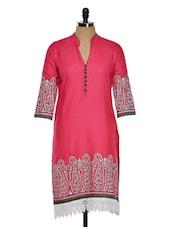 Solid Pink Kurti With Paisley Motifs - RIYA